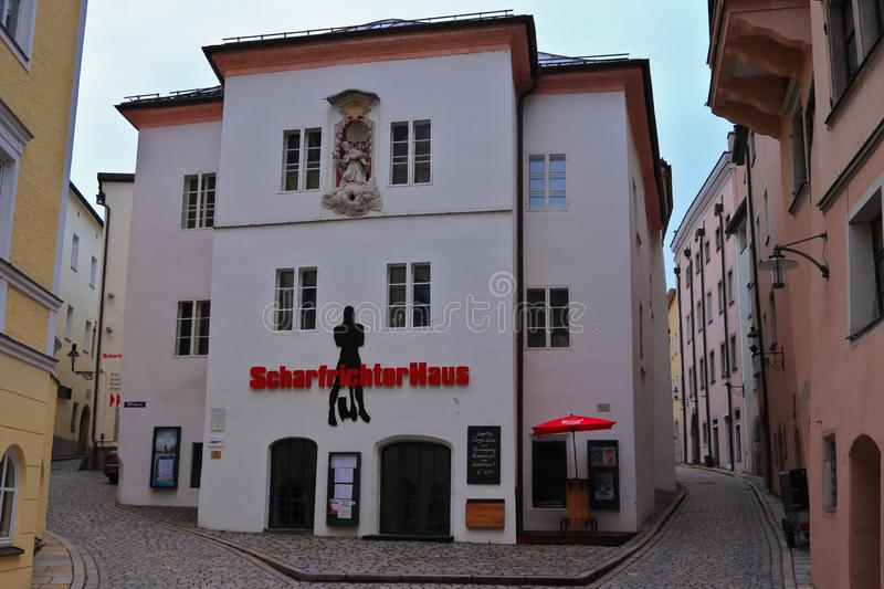 PASSAU, BAVARIA, GERMANY - MARCH 12, 2019: Executioner`s house in the historic old town of Passau. royalty free stock image