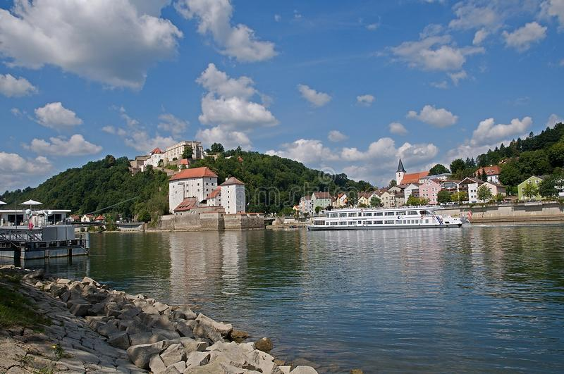 Passau, Germany. Castle Veste Niederhaus and Veste Oberhaus over the river Danube in Passau, Germany royalty free stock photos