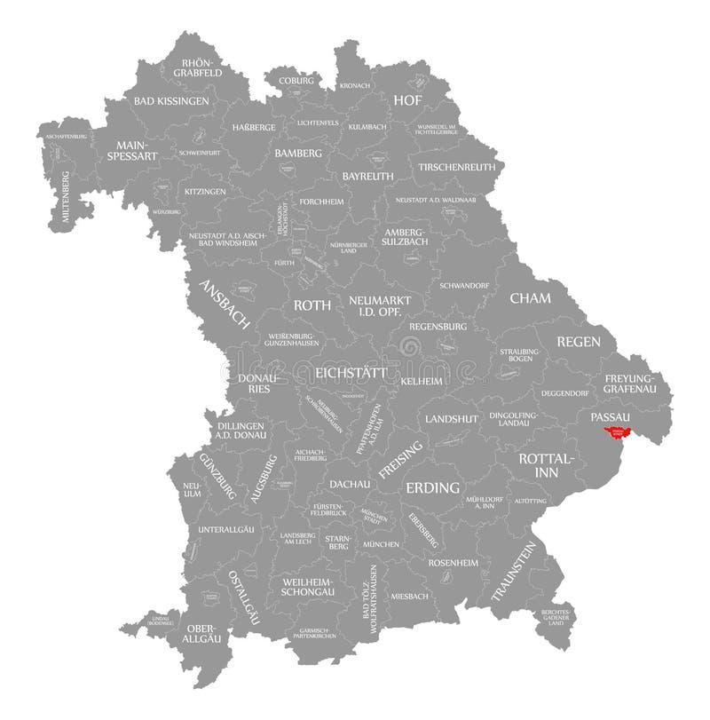 Passau miasta czerwień podkreślająca w mapie Bavaria Niemcy ilustracja wektor
