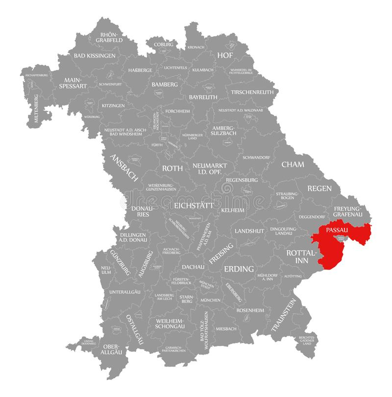Passau okręgu administracyjnego czerwień podkreślająca w mapie Bavaria Niemcy royalty ilustracja