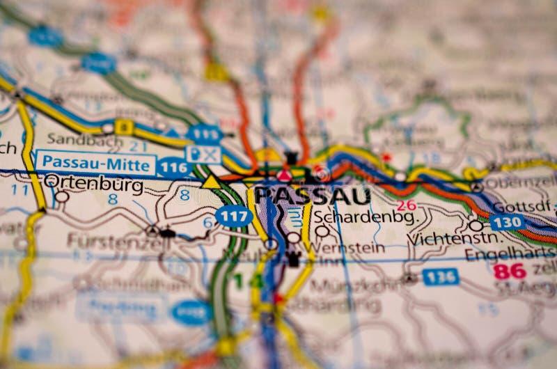 Passau op kaart royalty-vrije stock foto's