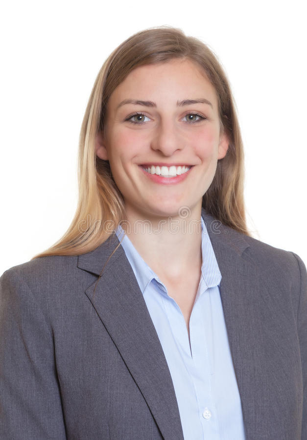 Passbild einer blonden Geschäftsfrau in einem Blazer stockfotografie