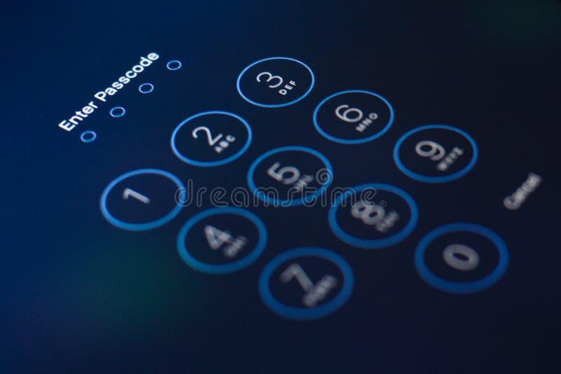 Passcode. Protection close-up numpad click stock image