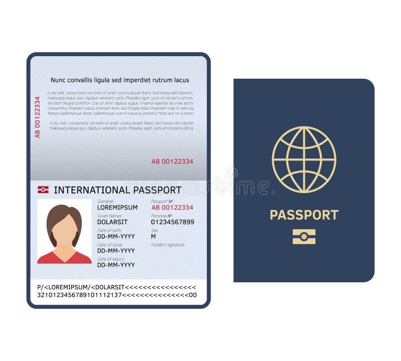 Passdokument Identifikations-internationale Papierpassseite mit lokalisierter Vektorschablone des Fotos legale Probe lizenzfreie abbildung