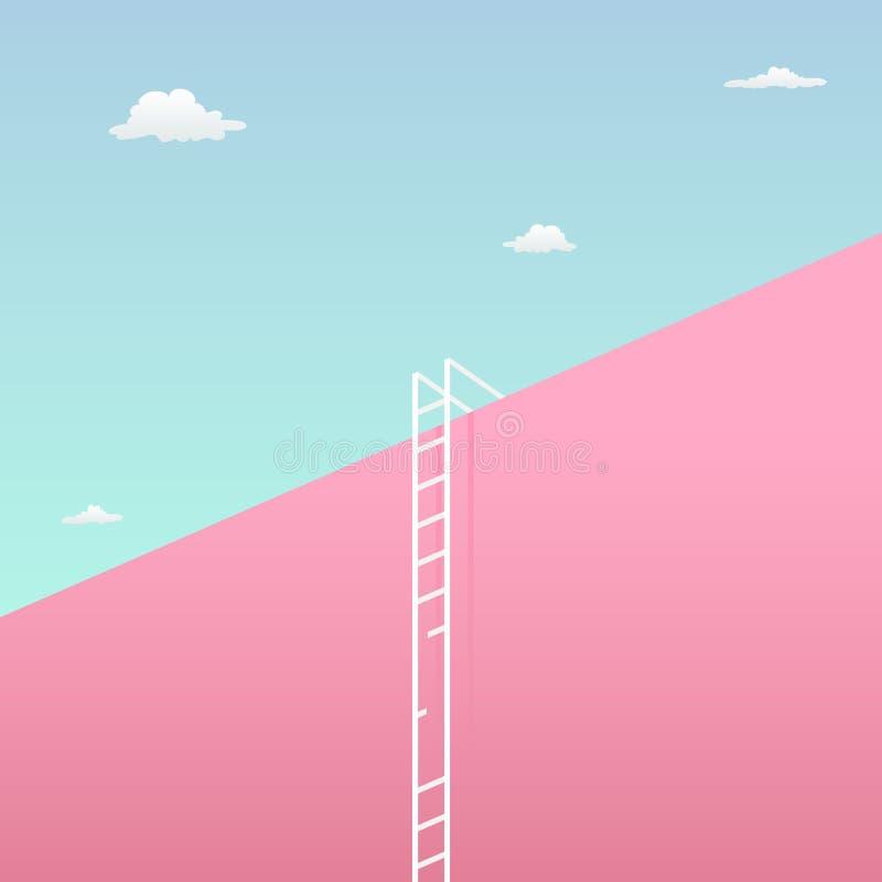 Passe o desafio para alcançar o conceito visual do desafio do objetivo com projeto minimalista da arte parede gigante alta para o ilustração stock