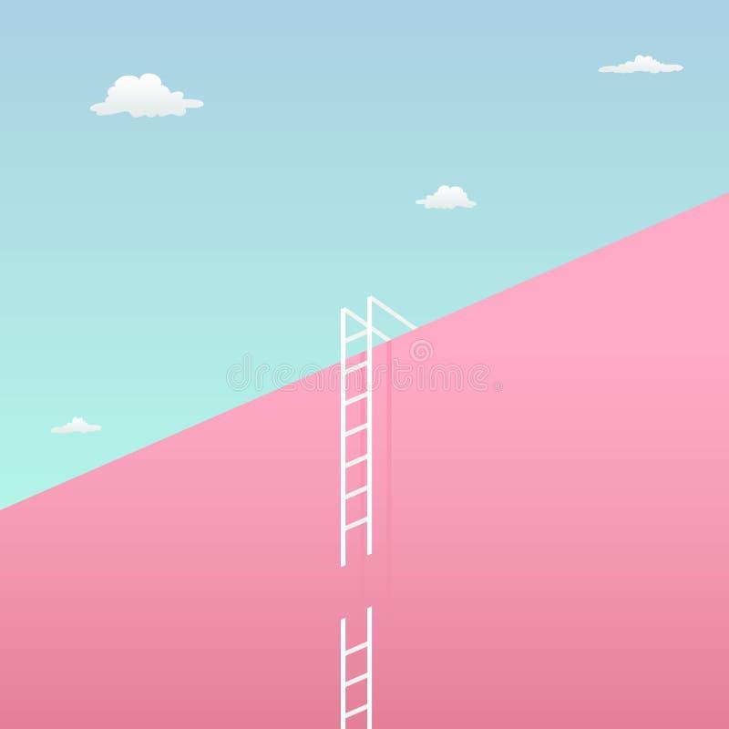 Passe o desafio para alcançar o conceito visual do desafio do objetivo com projeto minimalista da arte parede gigante para o céu  ilustração royalty free