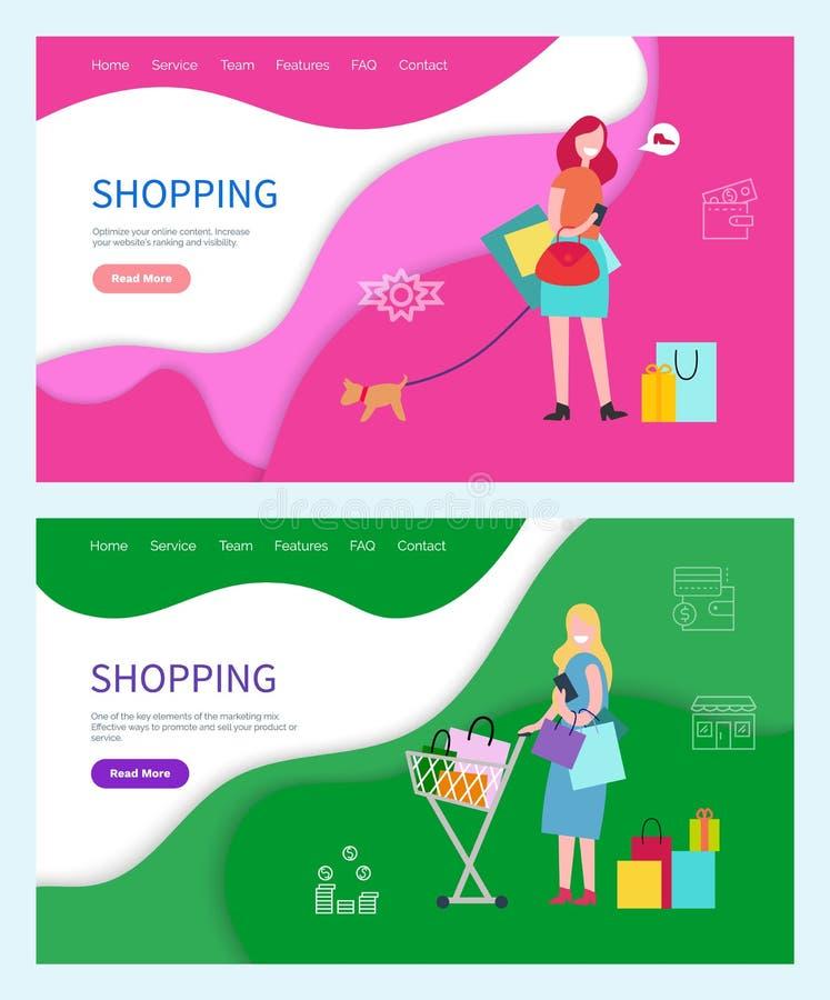 Passe-temps de achat des femmes, femelles passant des week-ends illustration de vecteur
