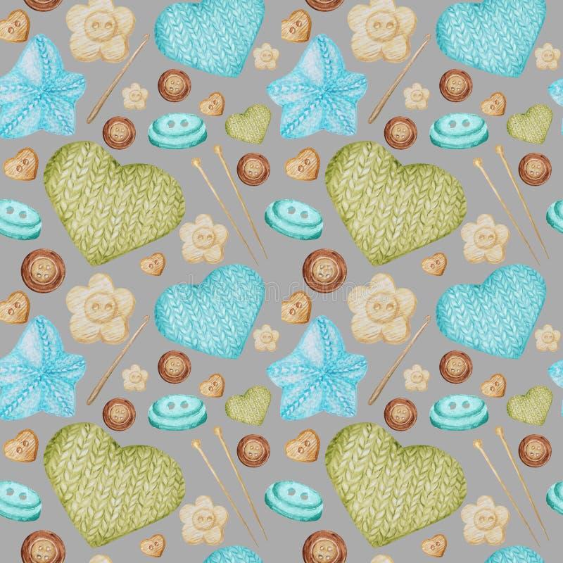 Passe-temps sans couture de modèle d'aquarelle tricotant et faisant du crochet Collection de bleu-clair tiré par la main, vert, b illustration stock