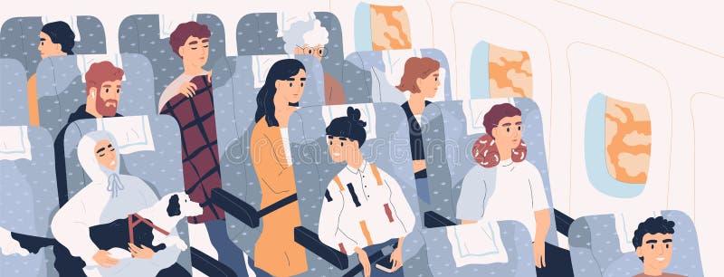 Passeggeri all'interno del velivolo Divertenti persone sedute a sedere nella cabina degli aerei moderni Uomini e donne carini a b illustrazione vettoriale
