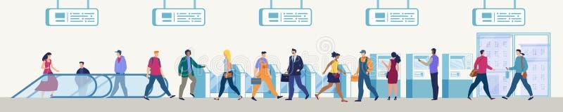 Passeggeri che entrano in concetto di vettore della stazione della metropolitana illustrazione vettoriale