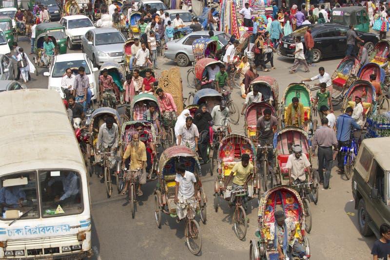 Passeggeri in Dacca, Bangladesh di trasporto dei risciò fotografia stock libera da diritti