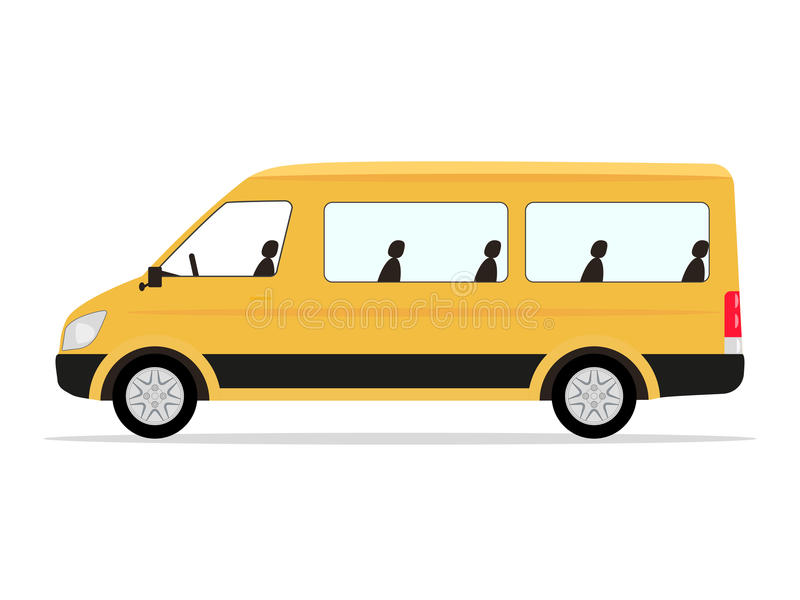Passeggeri del minibus di giallo del fumetto di vettore illustrazione di stock