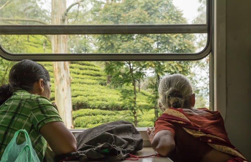 Passeggeri della donna che guardano dalla finestra del treno sullo Sri Lanka fotografia stock libera da diritti