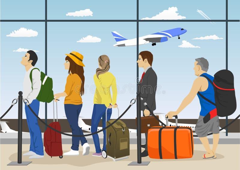 Passeggeri nei contatori di registrazione aspettanti della coda all'aeroporto illustrazione di stock