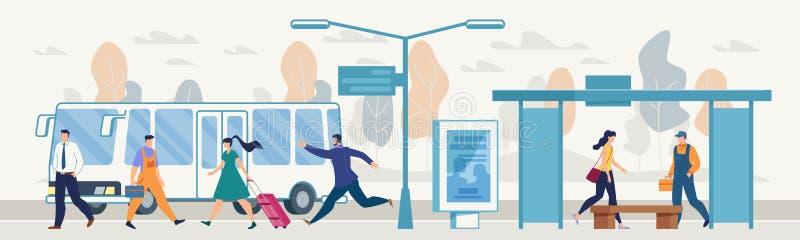 Passeggeri sul concetto piano di vettore della fermata dell'autobus della città illustrazione di stock