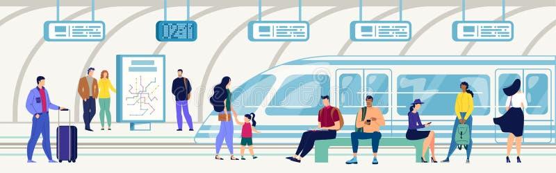 Passeggeri sul concetto piano di vettore della stazione della metropolitana illustrazione vettoriale