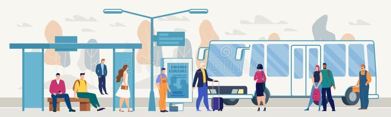 Passeggeri sul vettore piano della piattaforma della fermata dell'autobus della città illustrazione vettoriale
