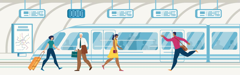 Passeggeri sul vettore piano della stazione della metropolitana della città illustrazione vettoriale