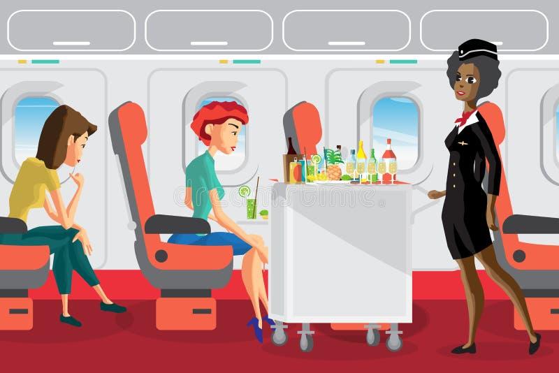 Passeggeri sull'aereo durante il volo Servi dell'hostess di afro illustrazione vettoriale