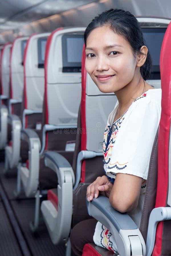 Passeggero nell'aeroplano fotografie stock libere da diritti
