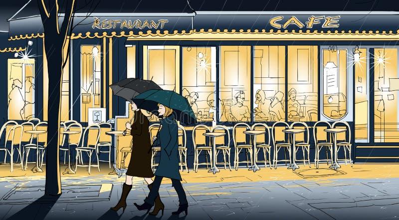 Passeggiando nella pioggia illustrazione vettoriale