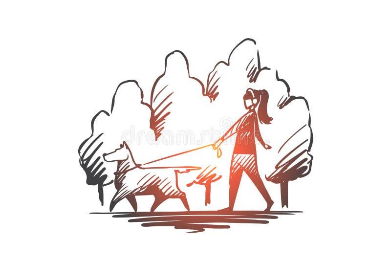 Passeggiata, animale domestico, cane, stile di vita, concetto caro Vettore isolato disegnato a mano illustrazione vettoriale