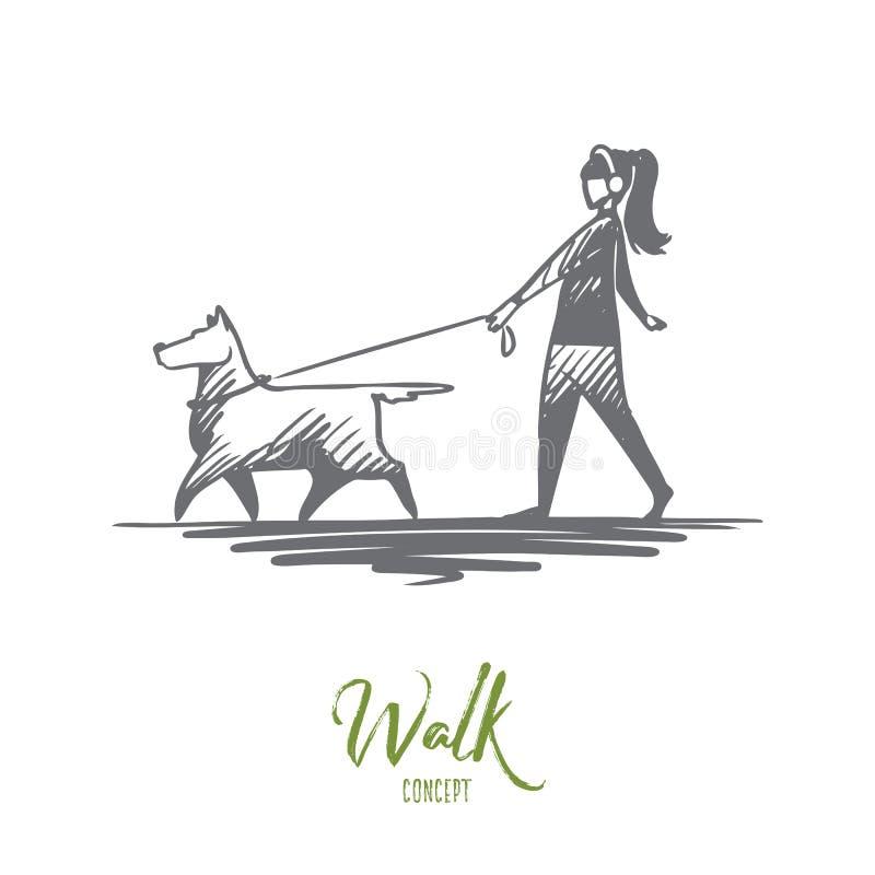 Passeggiata, animale domestico, cane, stile di vita, concetto caro Vettore isolato disegnato a mano royalty illustrazione gratis