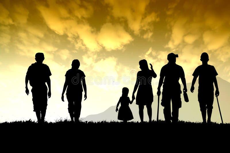 passeggiata del gruppo della famiglia per il viaggio sotto il cielo arancio illustrazione vettoriale