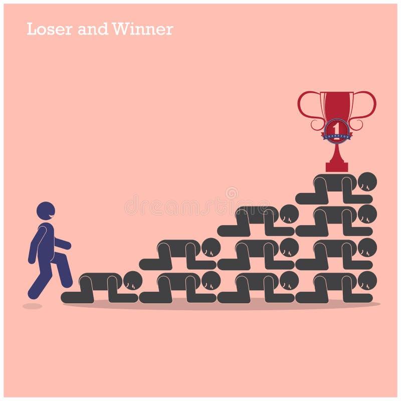 Passeggiata del vincitore sopra le scale del concetto del perdente Concetto della concorrenza illustrazione vettoriale