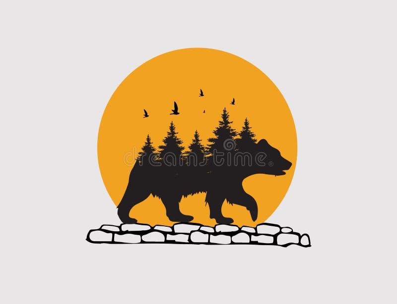 Passeggiata dell'orso nel logo della parete di pietra fotografia stock