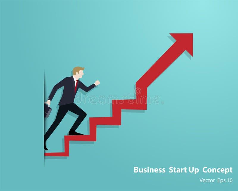 Passeggiata dell'uomo d'affari su sulla scala della freccia andare a successo illustrazione di stock
