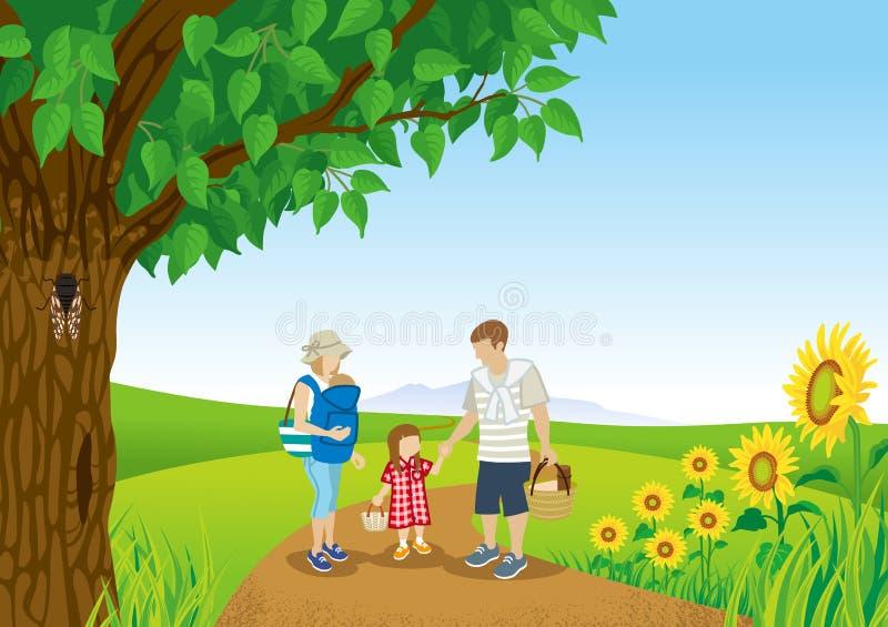 Passeggiata della famiglia in natura di estate illustrazione di stock