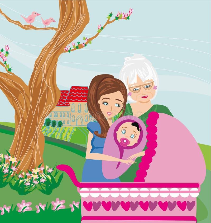 Passeggiata della famiglia nel parco con un infante illustrazione di stock
