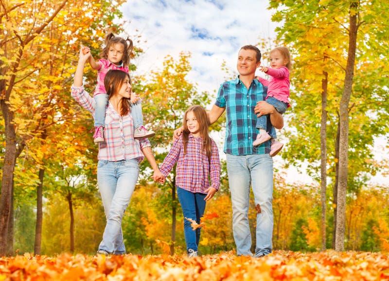 Passeggiata della famiglia nel tenersi per mano del parco di autunno immagini stock libere da diritti