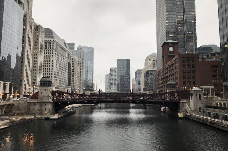 Passeggiata di Chicago nella stagione invernale immagini stock