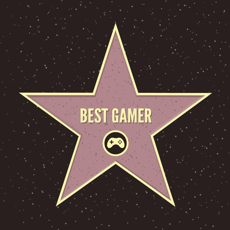 Passeggiata di Hollywood di progettazione di fama Illustrazione gamer famoso del marciapiede di migliore illustrazione di stock