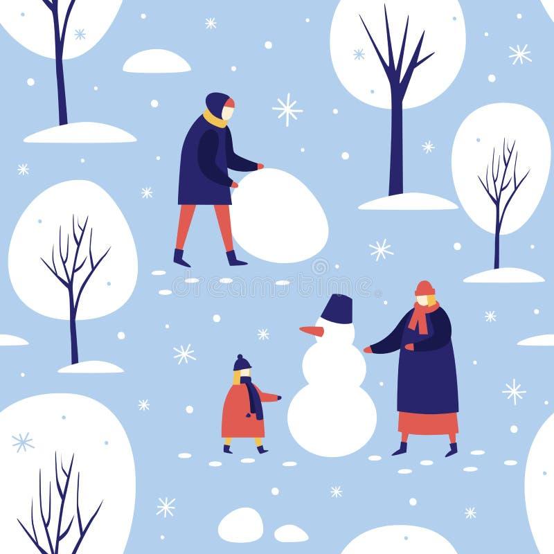 Passeggiata di inverno nel parco innevato La gente fa un pupazzo di neve nella foresta royalty illustrazione gratis