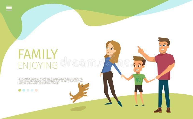 Passeggiata felice della famiglia nell'insegna piana di web di vettore del parco illustrazione vettoriale