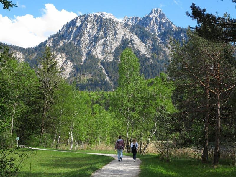 Passeggiata nel paesaggio della montagna fotografia stock