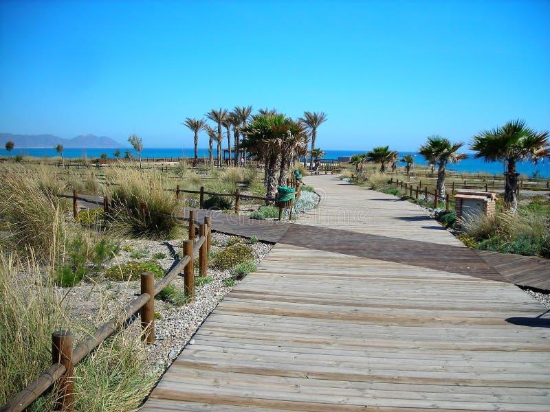 Passeggiata Retamar spiaggia-Almeria-Andalusia fotografia stock