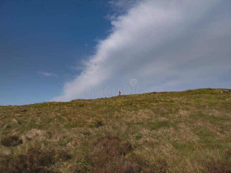 Passeggiata sopra i pascoli infiniti di Binevenagh in Irlanda del Nord fotografia stock libera da diritti