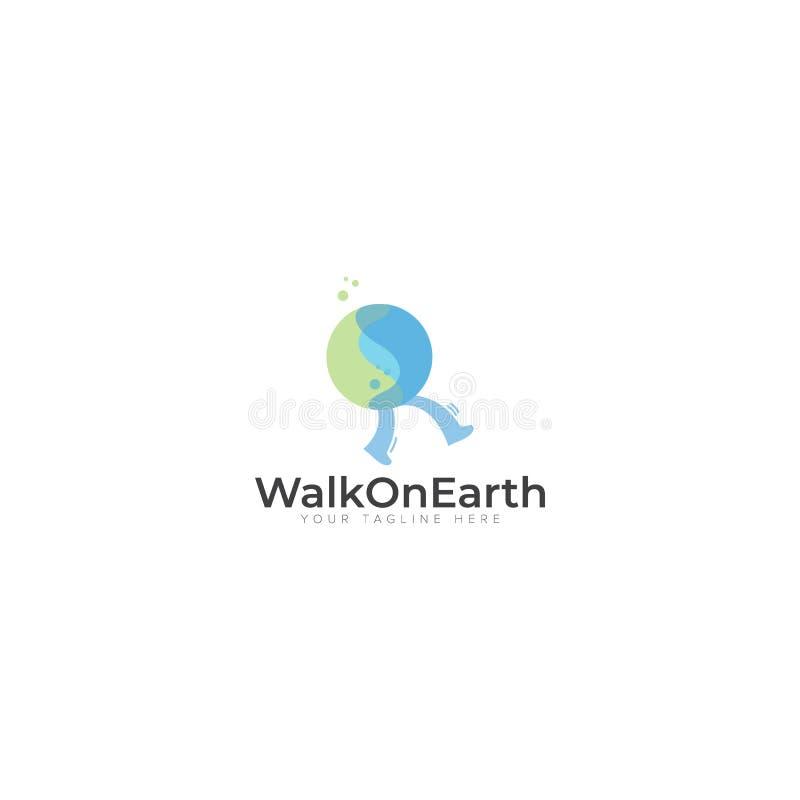 Passeggiata su terra o sul globo Logo Design illustrazione vettoriale