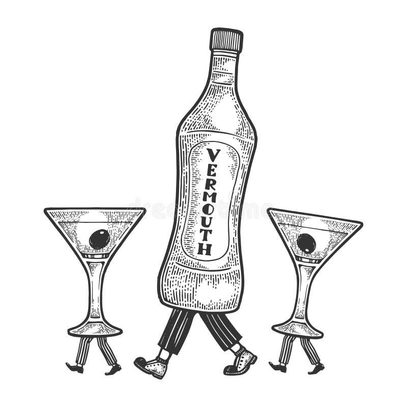 Passeggiate del vetro da bottiglia del vermut sul suo schizzo dei piedi royalty illustrazione gratis