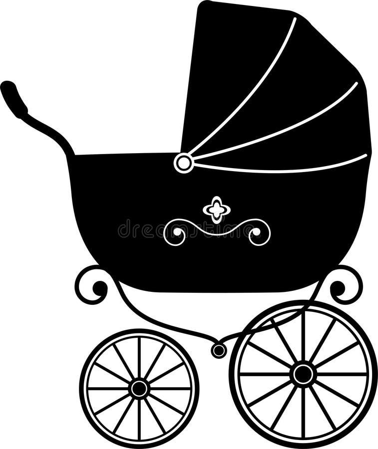 Passeggiatore del bambino (siluetta) illustrazione di stock