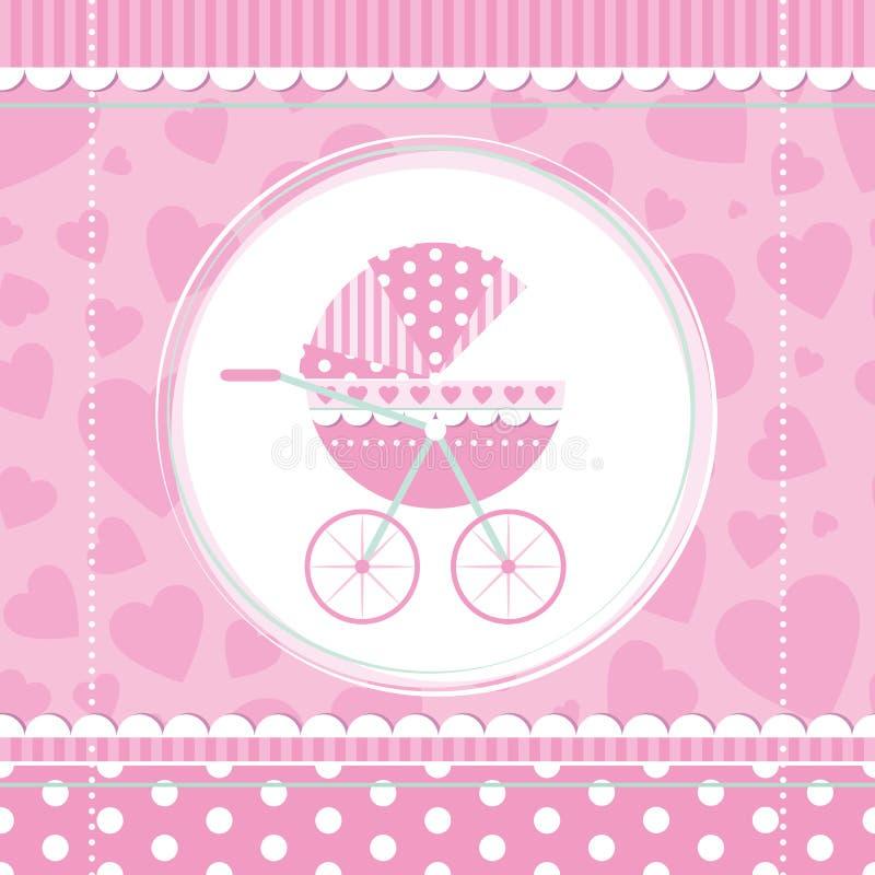 Passeggiatore di bambino rosa della ragazza royalty illustrazione gratis
