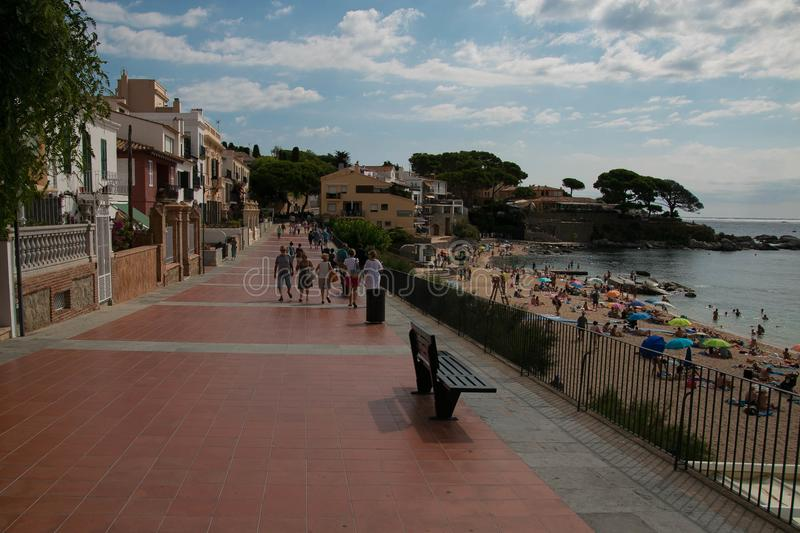 Passeig Canadell in Calella de palafrugell, spain stock photos