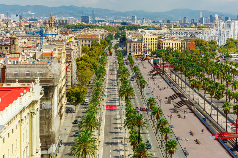 Passeig de Colom in Barcelona, Catalonia, Spain. Aerial view over Passeig de Colom or Columbus avenue from Christopher Columbus monument in Barcelona, Catalonia stock photos