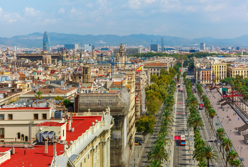 Passeig de Colom in Barcelona, Catalonia, Spain royalty free stock photography