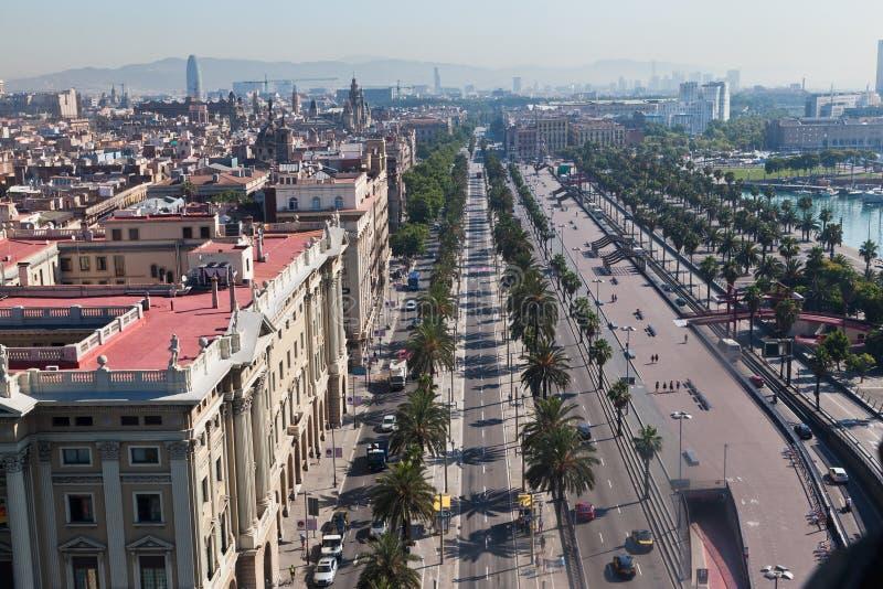 Passeig de Colom Barcelona Spain. The Passeig de Colom street next to the harbour in Barcelona, Spain stock photos