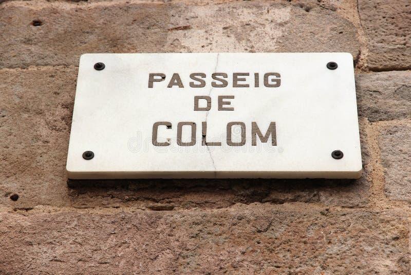 Passeig de Colom. Barcelona street sign - Passeig de Colom. Landmark of Spain stock photos
